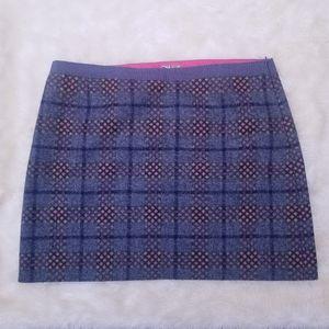 Boden British Tweed gray plaid mini skirt 16